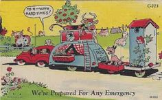 Vintage collectable travel trailer comic linen post card