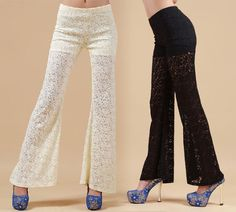 lulula-fashion shopping mall — [grdxyxh319110]elegant sweet lace bell-bottoms Wide leg pants trousers