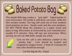 Instruction card for potato bag. Made for someone for their up coming craft fair. Fabric Crafts, Sewing Crafts, Sewing Projects, Fleece Crafts, Dyi Crafts, Sewing Hacks, Sewing Tutorials, Sewing Ideas, Sewing Tips