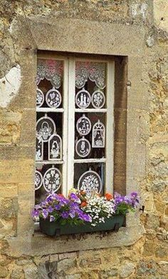 Normandy, France a beautiful French window Garden Windows, Windows And Doors, Pintura Exterior, Deco Floral, Through The Window, Window View, Window Dressings, Window Boxes, Flower Boxes