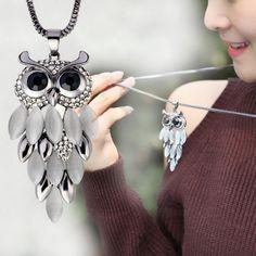 Crystal Leaf Owl Necklace