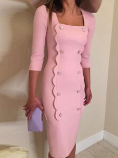 Scalloped Trim Double Breasted Slit Dress dresses and accessories all over the world at competitive prices, and with a high level of customer care. Slit Dress, The Dress, Dress Skirt, Bodycon Dress, Dress Long, Wrap Dress, Classy Work Outfits, Classy Dress, Scalloped Dress
