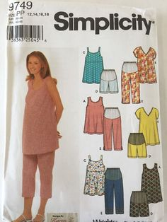 Maternity Pattern Summer Outfit PP 12-18 Tops Capri Pant Shorts 9749 Simplicity #Simplicity