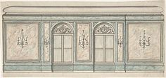 Elevation of a Wall with Two Windows and Five Wall Lights Anonymous, British, 19th century  - Watercolor and Ink - Drawings - Met Museum Collections