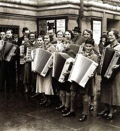 A group of accordian players outside Central Hall, London - 1 October 1936