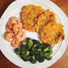 """broccoli stem and zucchini and sweet potato pancakes. I followed her #recipe but switched out the zucchini for broccoli stems (because I'm oddly obsessed with using them) and scallions for yellow onion (because I didn't have scallions).Served them with some #lemon #chili #shrimp and roasted broccoli."""""""