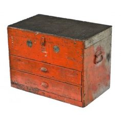 strongly constructed c. 1920's original oversized distressed orange and gray painted american industrial pipe fitter's tool chest with opposed stanley wrought steel carrying handles