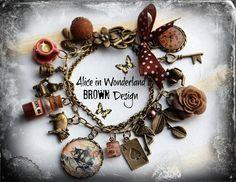 Cabochon-Alice im Wunderland Schmuck Armband Vintage BROWN Schmelz sehen Handarbeit Geschenk                                                                                                                                                                                 Mehr