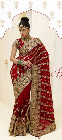 USD 92.03 Maroon Faux Georgette Embroidered Bridal Saree  32450
