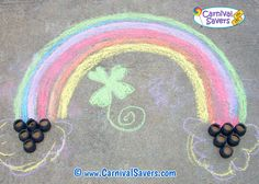 End of the Rainbow game -- an easy do it yourself, or DIY carnival game! See supplies needed and how to play this unique carnival game. School Carnival Games, Diy Carnival Games, Kids Carnival, Carnival Birthday Parties, Carnival Ideas, Rainbow Games, School Fundraisers, Kids Party Games, Fundraising