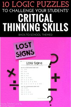 10 Logic Puzzles to Challenge Your Students' Critical Thinking Skills - Young Teacher Love by Kristine Nannini - Check out all these great logic puzzle ideas for your third, fourth, fifth, or sixth graders in upper elementary or middle school students. 5th Grade Classroom, 5th Grade Math, School Classroom, Third Grade, Logic And Critical Thinking, Classroom Procedures, Classroom Ideas, Math Logic Puzzles, Brain Teasers
