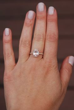 Oval engagement ring with peach champagne by EidelPrecious on Etsy