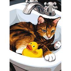 Margot canevas la toilette du chat