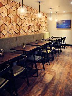 London Nando's in soho. Love the geometric wall design