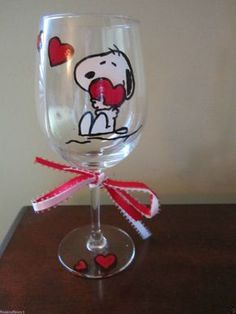 Hand Painted Wine Glass Snoopy with Hearts - 12 oz. Glass by jmari01 on Etsy