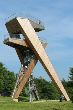 architecture modern lookout watchtower tower wooden lin...
