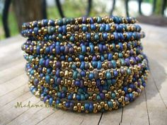 Peanut Seed Beads and Memory Wire.