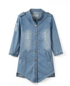 Stonewashed Ripped Denim Blouse With Stand Collar