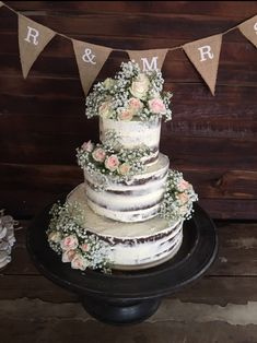 Rustic Wedding Cake With Pink Roses