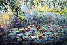 """""""At The Water Lilies"""" by Claude Monet. $269 USD. 36""""h x 48""""w (90x120cm). To shop this oil painting click here: http://globalwholesaleart.com/at-the-water-lilies-p-1999.html"""