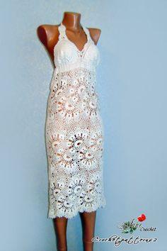 White woman crochet dress - wedding crochet dress, crochet lace, lace dress