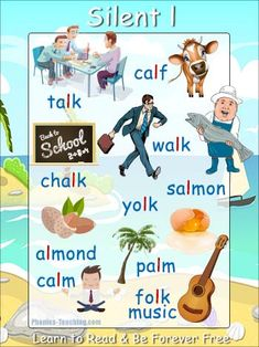 silent l words - FREE & Printable - Ideal for word walls and spelling lessons Phonics Chart, Phonics Flashcards, Phonics Blends, Abc Phonics, Flashcards For Kids, Phonics Lessons, Phonics Words, Phonics Reading, Phonics Activities