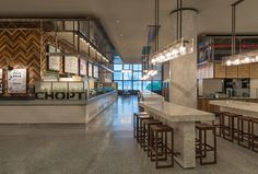Hudson Eats at Brookfield Place Cafeteria Design, Retail Interior Design, Restaurant Interior Design, Modern Restaurant, Cafe Restaurant, Hudson Eats, Restaurant Banquette, Food Court Design, Restaurants