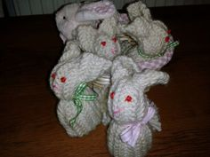 A basket of knitted bunnies