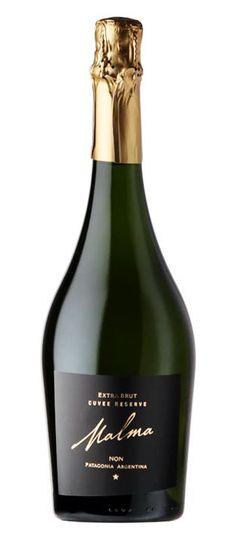 Malma Cuvée Reserve Extra Brut.  Bodega NQN. Wine Packaging, Packaging Design, Label Design, Sparkling Wine, Fine Wine, Prosecco, Liquor, Bubbles, Alcohol