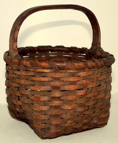 """19th c woven basket, Northeast, ash, carved handle, bottom gliders, 8"""" t, #Americana #Unknown"""