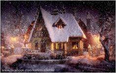 Country house covered with snow. I added falling snow and a border to it. Winter Christmas Scenes, Christmas Lodge, Christmas Events, Christmas Villages, Christmas Art, Winter Gif, I Love Winter, Winter Scenery, Winter Wonder