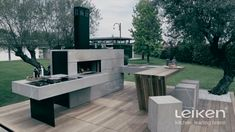 Gather your friends and family and enjoy the good weather outside. Outdoor Barbeque, Pizza Oven Outdoor, Outdoor Cooking, Modern Outdoor Kitchen, Backyard Kitchen, Design Barbecue, Parrilla Exterior, Brick Bbq, Backyard Fireplace