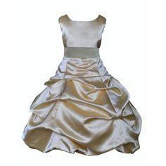 Ekidsbridal Formal Satin Gold Flower Girl Dress Christmas Bridesmaid Wedding Pageant Toddler Recital Easter Holiday Communion Birthday Baptism Occasions 2 4 6 8 10 12 14 16 806s mercury grey size 2