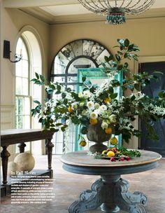 Gorgeous floral arrangement on a Foyer Center Table