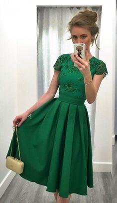 Prom Dresses,Green Prom Dresses,Lace Prom Dresses, 2017 Prom Dresses,Short Homecoming Dress,Prom Dress Short Sleeves,Prom Gowns,Green Satin Prom Dress,Tea Legth Prom Dress,Custom Made