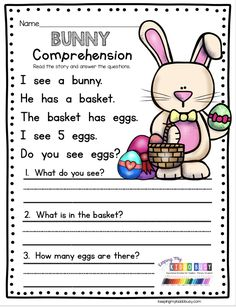 EASTER READING COMPREHENSION Spring Worksheets for kindergarten - FREE printables for April in math - reading and writing for pre-k - first grade - reading passages with comprehension questions - sigh First Grade Worksheets, Free Kindergarten Worksheets, Reading Worksheets, Kindergarten Writing, Free Worksheets, Easter Worksheets, Easter Activities, Literacy, First Grade Reading Comprehension