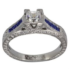 Vintage Princess Engagement Setting With Sapphires #Dacarli #SolitairewithAccents