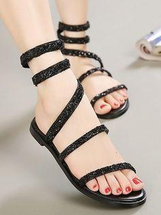 Black Twine Strappy Rhinestone Gladiator Flat Sandals