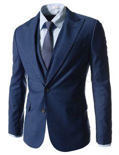 (NIFJ232-BLUE) Slim Fit Peaked Lapel Single Breasted 2 Button Blazer