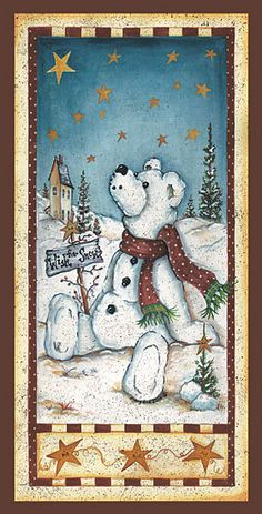 christmas snow Country & folk art coffre au tresor B Christmas Animals, Christmas Wood, Christmas Signs, Christmas Pictures, Christmas Crafts, China Painting, Tole Painting, Country Bears, Bear Paintings