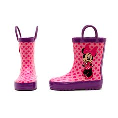 Disney Minnie Mouse Rain Boot For Kids Kids Rain Boots, Rubber Rain Boots, Polka Dot Print, Polka Dots, Disney Outfits, Disney Clothes, London Shopping, Smile Because, Rain Wear