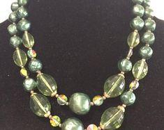 SUMMER SALE Vintage Necklace Indigo Vintage Jewelry Graduated Bead Necklace Short Bead Necklace Jewelry Vintage UnSigned Vintage Jewelry