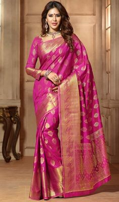 Make a stand-out statement with this pink color shade embroidered tussar silk…