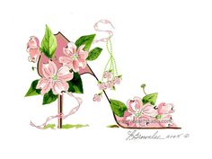 FREE SHIPPING  Dogwood Tree Pink and Pink by brownleeartstudio Crazy Shoes, Weird Shoes, Cascading Flowers, Dogwood Trees, Flower Shoes, Shoe Art, Needlework, Fantasy, Free Shipping