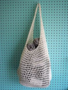 Crochet Farmer's Market Bag Pattern by Haley Waxberg Materials • 3.75mm Crochet Hook • 420m DK weight cotton yarn • 1 split ring...