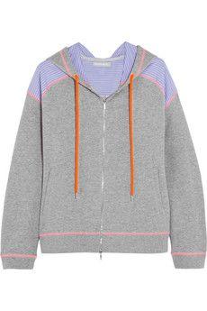 Richard Nicoll Paneled cotton-jersey hooded top | NET-A-PORTER