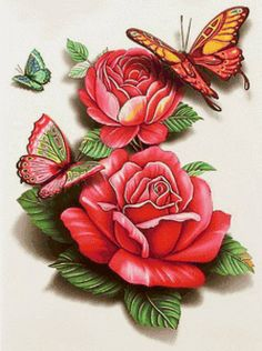 Предпросмотр схемы вышивки «бабочки и цветы»