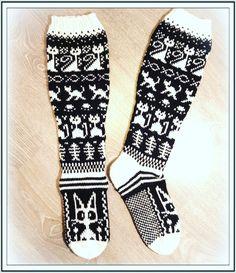 Woolen Socks, Knitted Cat, Fair Isles, Crochet Clothes, Knitting Socks, Clothing Patterns, Mittens, Crochet Projects, Knit Crochet