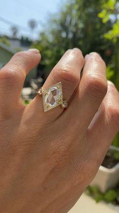 Rose cut oval diamond engagement ring Art Deco Diamond, Oval Diamond, Rose Cut Diamond, Diamond Shapes, Diamond Rings, Vintage Inspired Engagement Rings, Halo Engagement Rings, Antique Rings, Vintage Rings