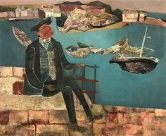'Cornish Coast' by John Minton, 1945 (oil on canvas) John Minton, Duke Of Devonshire, Cornish Coast, Art For Art Sake, Cubism, My Collection, Artist Art, Oil On Canvas, Folk